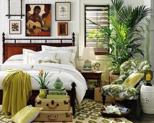 Mood tropicale con le piante in camera da letto