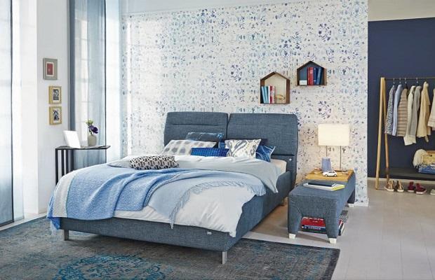 Il denim in camera da letto regala pace e relax