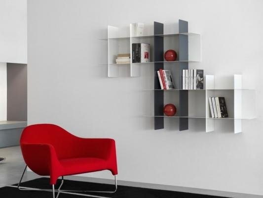 Libreria modulare a parete dallo stile minimal, da meme design