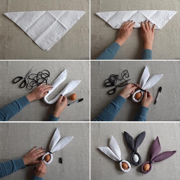 Tovagliolo a forma di coniglio tutorial, da helenalyth.se