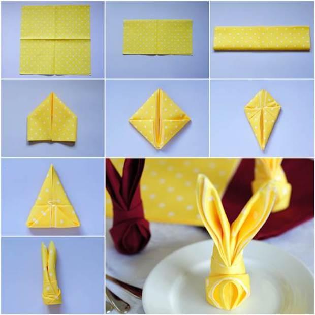 Tovagliolo origami pasquale, da icreativeideas.com