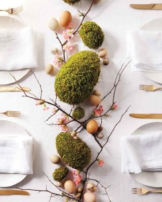 Centrotavola verde per la tavola di Pasqua, da marthastewart.com