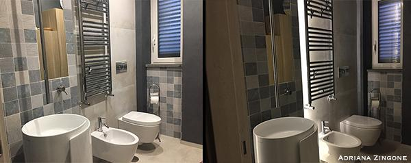 Pavimento rivestimento grande formato in bagno. Realizzaione di Enkos srl