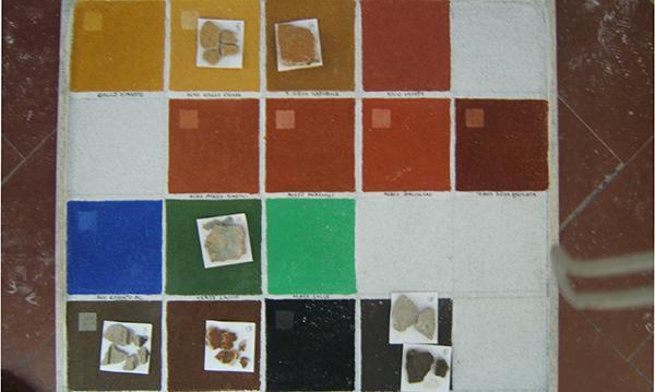 Campionatura dei colori di alcune facciate di Siena