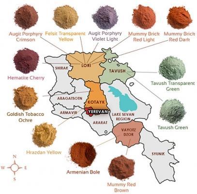 Pigmenti inorganici armeni per pittura a calce di Antichità Belsito