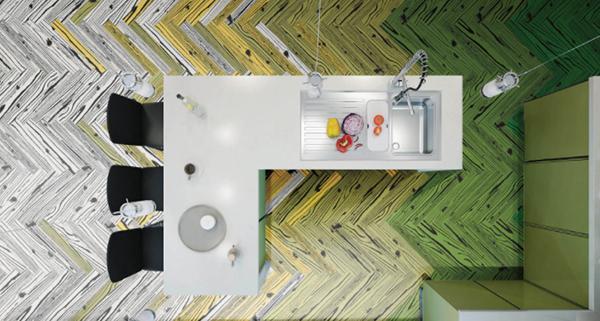 Pavimento in stile Pop Art con il gres effetto legno UonUon di 14oraitaliana
