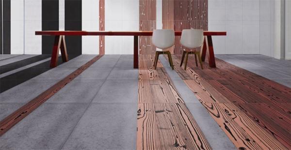 Innovativo pavimento di listoni di gres a effetto legno e grandi piastrelle quadrate