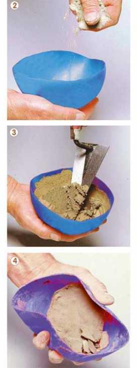 Preparare il cemento rapido nella semisfera di un pallone in gomma