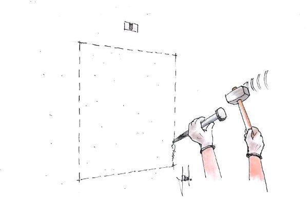 Preparazione nicchia a parete per nascondiglio segreto