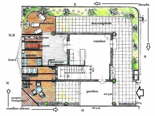 Pergola per terrazzo: pianta di progetto