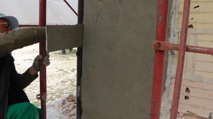 Pilastro di cemento armato ammalorato dopo il ripristino, Diasen