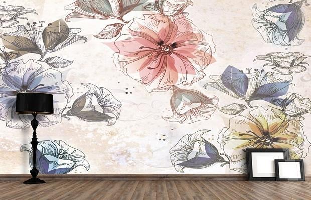 Riproduce l'effetto di una tela pittorica il modello Flowers di Carta da Parati Artistica