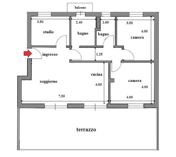 Pianta appartamento da ampliare con veranda terrazzo