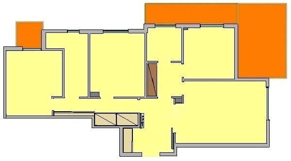 Pianta appartamento con arredi ingresso, corridoio e disimpegno