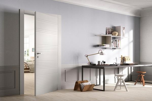 La porta plissé di FerreroLegno con pannello anteriore pantografato a pieghe