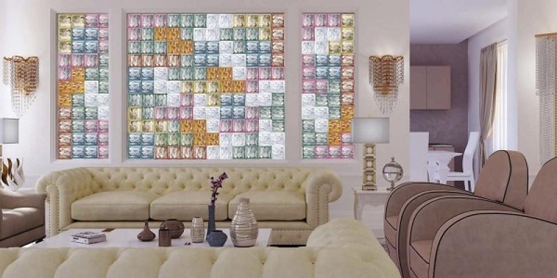 Mattoni di vetro Bormioli Rocco in salone