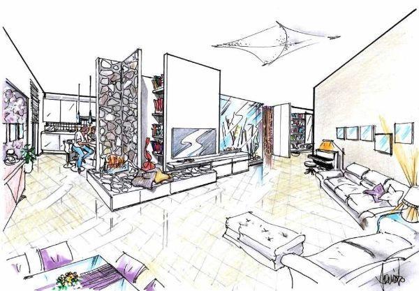 Open space arredamento: disegno in 3D