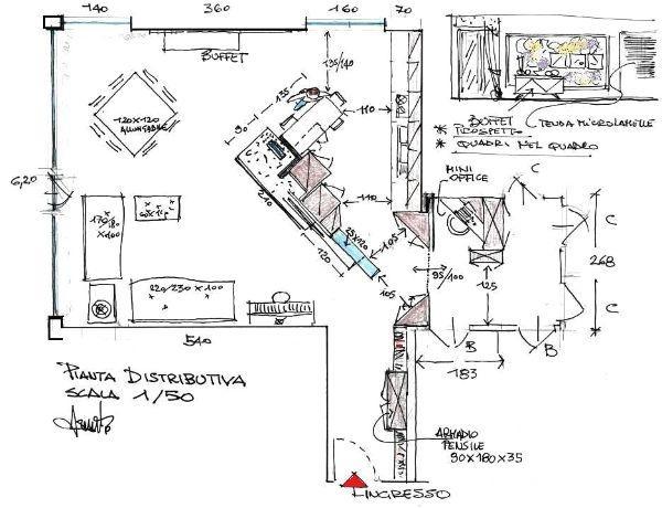 Arredare un open space: pianta di progetto
