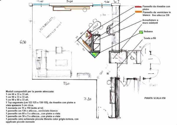 Zona giorno open space: seconda soluzione d'arredo