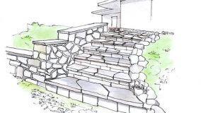 Scala esterna in pietra naturale