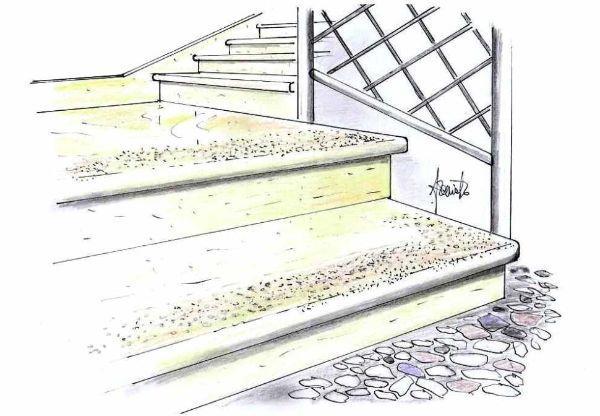 Scala esterna in pietra con bocciardatura antiscivolo