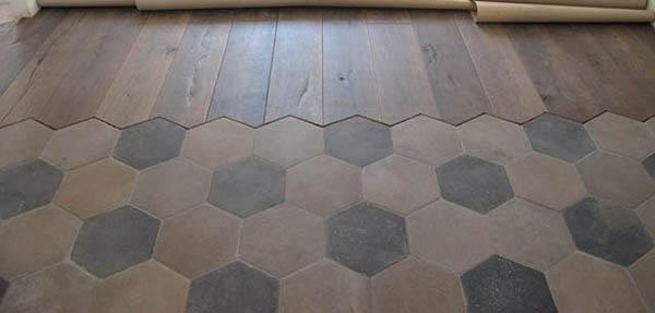 Pavimento in cementine e listoni di legno, by Floor Treatment
