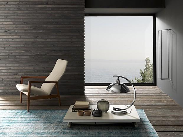 Tavolino alto solo 16 cm, da riporre sotto divani o letti, da Altacom