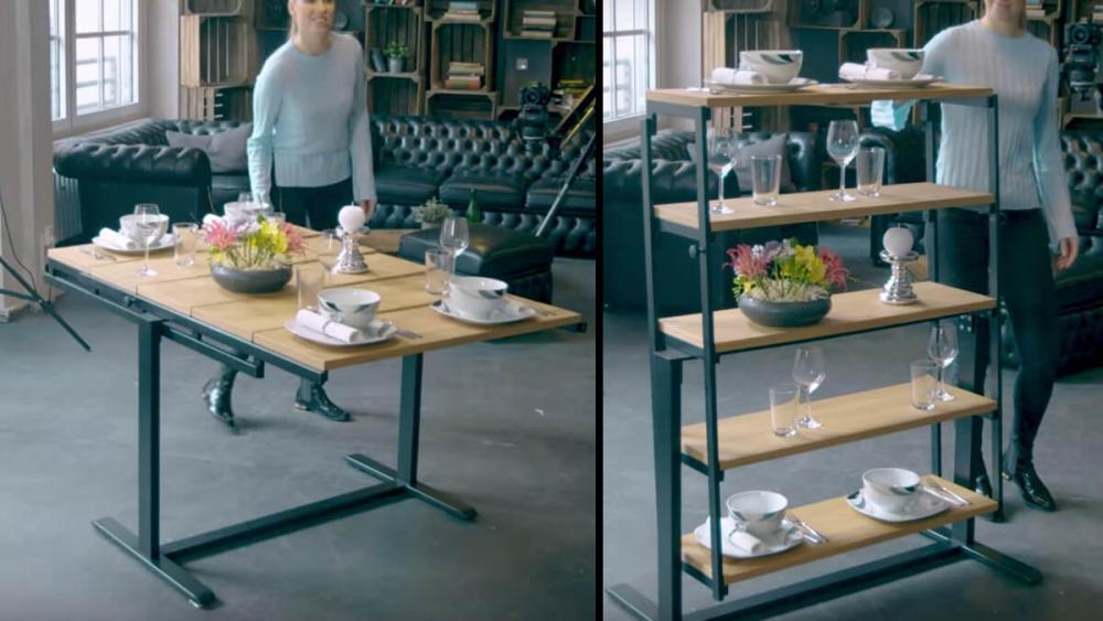 Lo scaffale che diventa tavolo, e viceversa, da German Smart Living