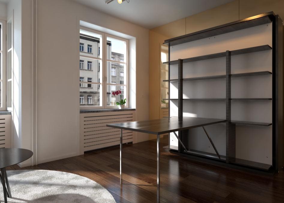 Libreria girevole con tavolo e letto estraibili, da expandfurniture.com