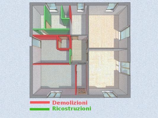 Progetto bagno zona giorno - demolizioni e ricostruzioni