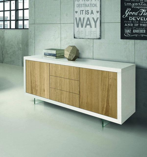 Credenza bassa bianca con legno, by Fashion Commerce