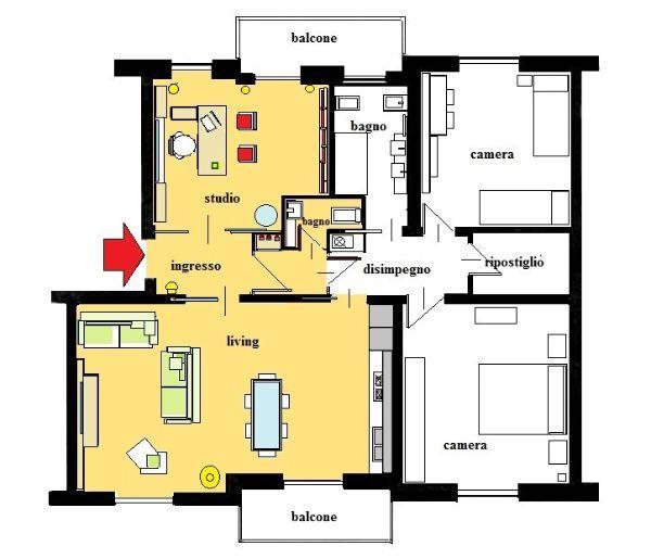 Studio in casa: pianta di progetto