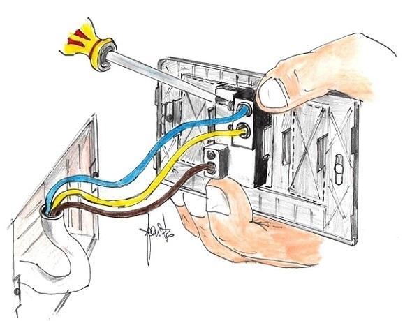 Sostituire l'interruttore della luce: spostare i fili