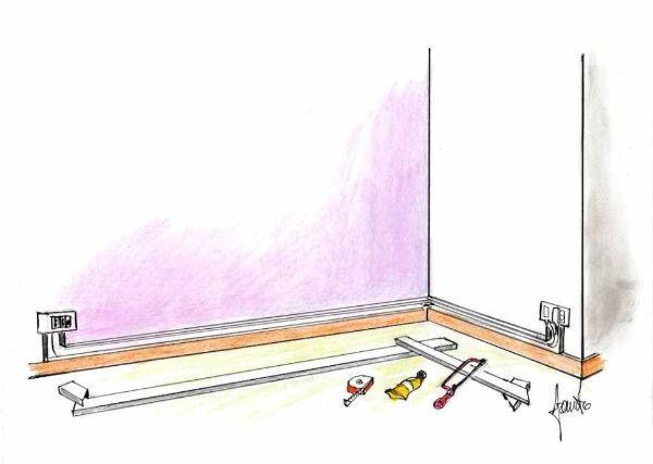 Montaggio canalina per spostamento presa corrente e cavo TV