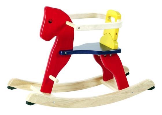 Cavallo a dondolo in legno con protezioni, da Città del Sole