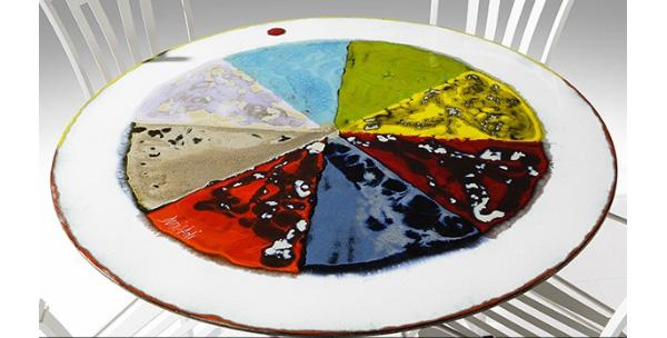 Tavolo di ceramica Flower Power di Domiziani