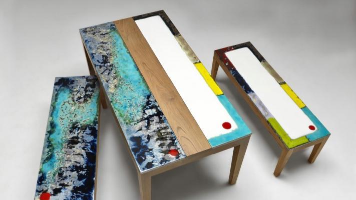 Tavolo in legno e pietra lavica ceramizzata di Domiziani