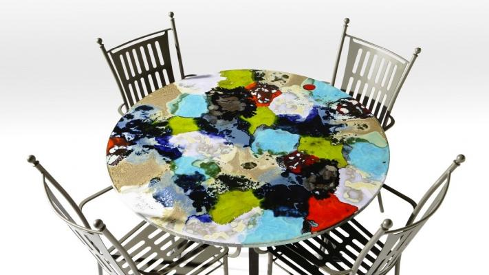 Tavolo in ceramica Ortensie di Domiziani