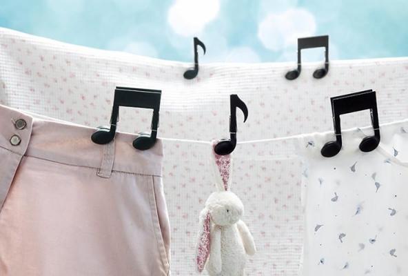 Mollette a forma di note musicali, da Ototo