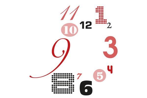 Numeri dell'orologio adesivo Caos di Wall Art