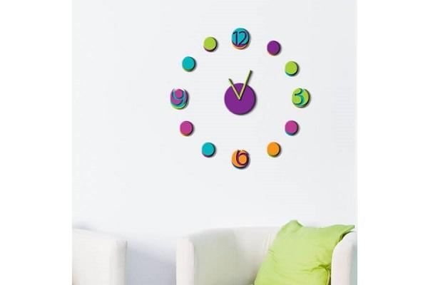 Orologio wall sticker Colourful di Dekoidea