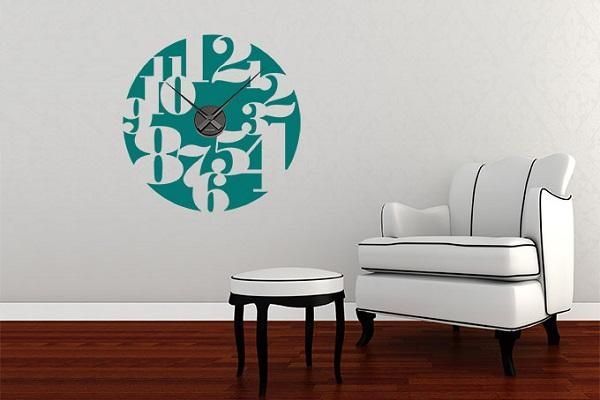 Orologio wall sticker Insalata Numeri di Wall Art