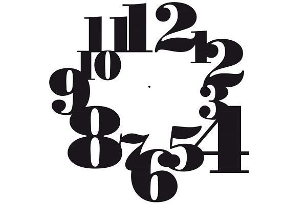 Numeri dell'orologio tipografico Wall Art
