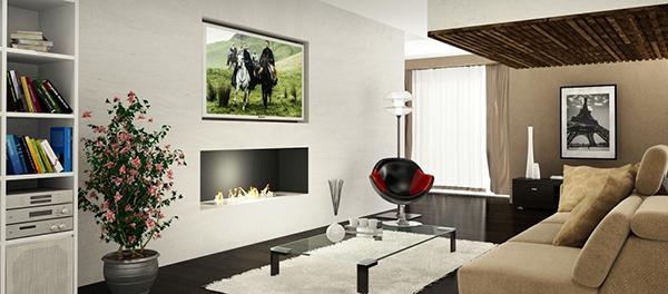 Camini telecomandati e tv parete attrezzata, AFire design