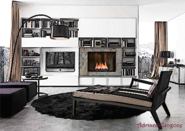 Biocamino e tv su parete attrezzata for Tv sopra camino