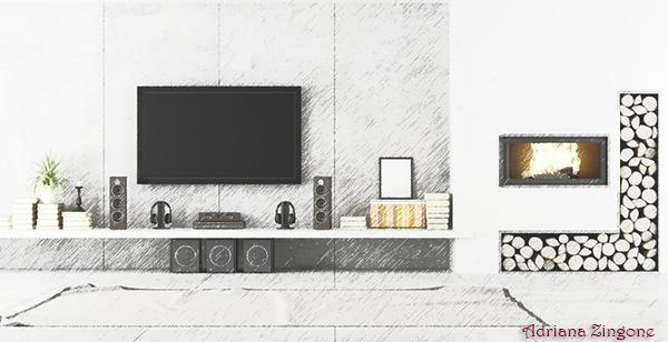 Parete attrezzata: biocamino accanto al TV