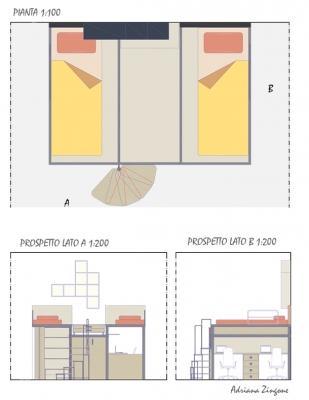 Progettare cameretta pianta prospetti