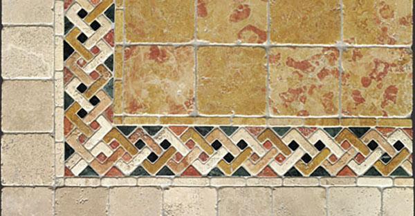 Bordura decorativa in opus sectile con motivo a treccia, by Linea Rustica Marmi