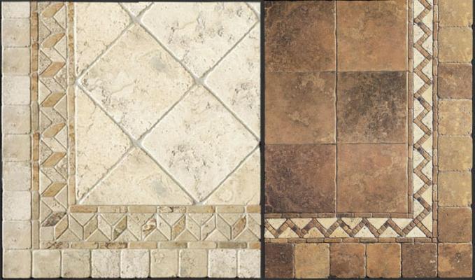 Pavimenti di marmo anticato con bordure decorative di Linea Rustica Marmi