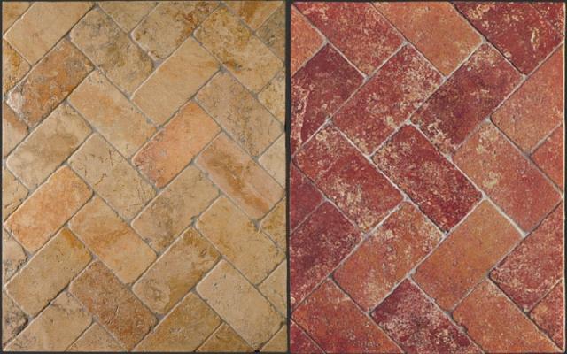 Pavimenti in marmo anticato a spina pesce di Linea Rustica Marmi